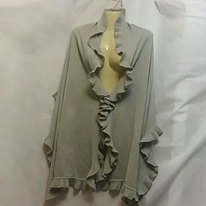Collection Eighteen Gray Knit Ruffled Wrap Scarf